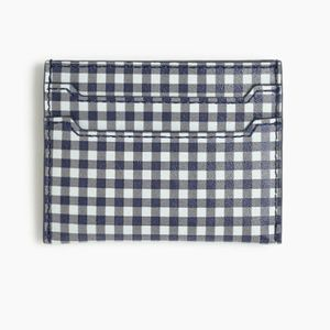 NWT J. Crew leather card case in gingham
